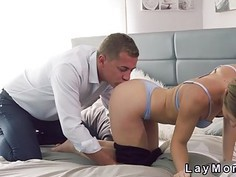 Slim blonde Milf sucks and fucks in bedroom