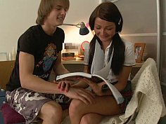 Teen couple is fucking instead of studying