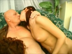 Fuckable sluts Cindy Jiggs and Kitty Tails make out with grandpa