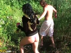 Voracious brunette with sweet tits provides a dick with a stout blowjob