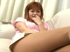 Red haired Japanese chick Ami desires to get her twat rubbed