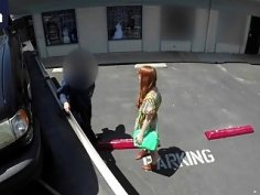 Young pale redhead drops panties and sucks big dick in fake tow truck