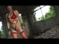 Japanese slut in hot red lingerie Mai Nadasaka strips hot