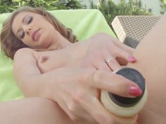 Marylin Blond in lingerie teases in backyard