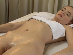 Redhead cutie riding huge hard cock in massage parlor