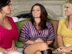 CFNM femdoms assfucked in group after toys