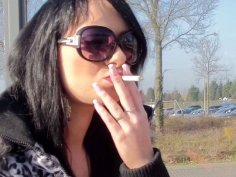Smoking slutty amateur brunette desires to win a dick for tough fuck