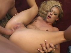 Blonde fucker rams Leah Luv in the ass in upside down position