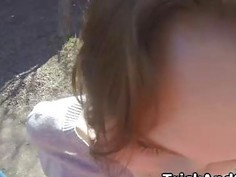 Crazy Ruslana having sex on spy glasses outdoor