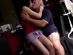 Horny senior Bruce catches sight of a uber-cute nymph sitting behind