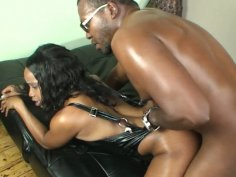 Dirty black whore Hypnotique gets poked in doggy position and creampied